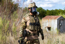 Soldier wearing the CM-6M tactical gas mask