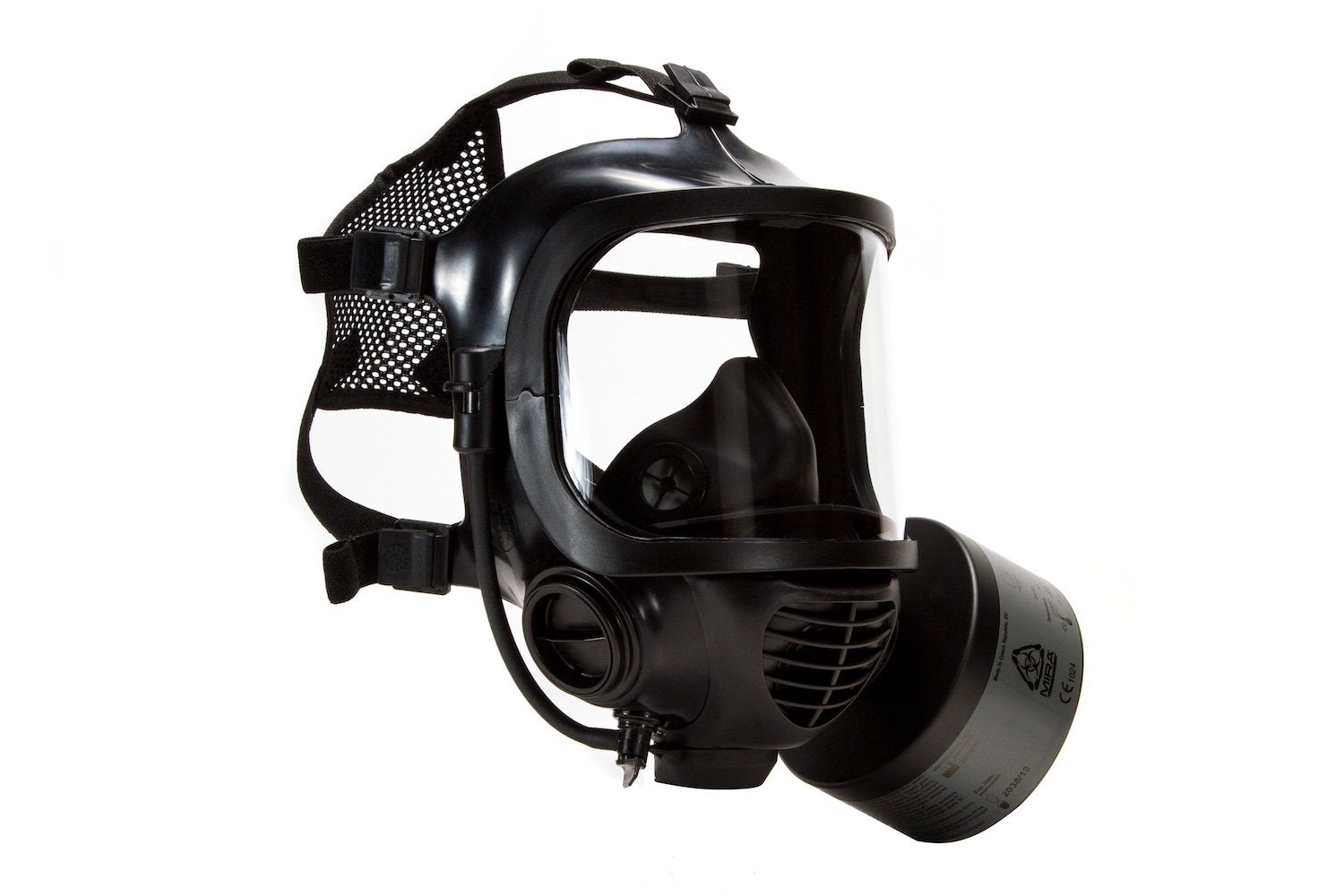 Side view of the CM-6M tactical gas mask as part of the MIRA Safety Nuclear Survival Kit