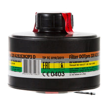 Label view of the DOTpro 320 40mm gas mask filter