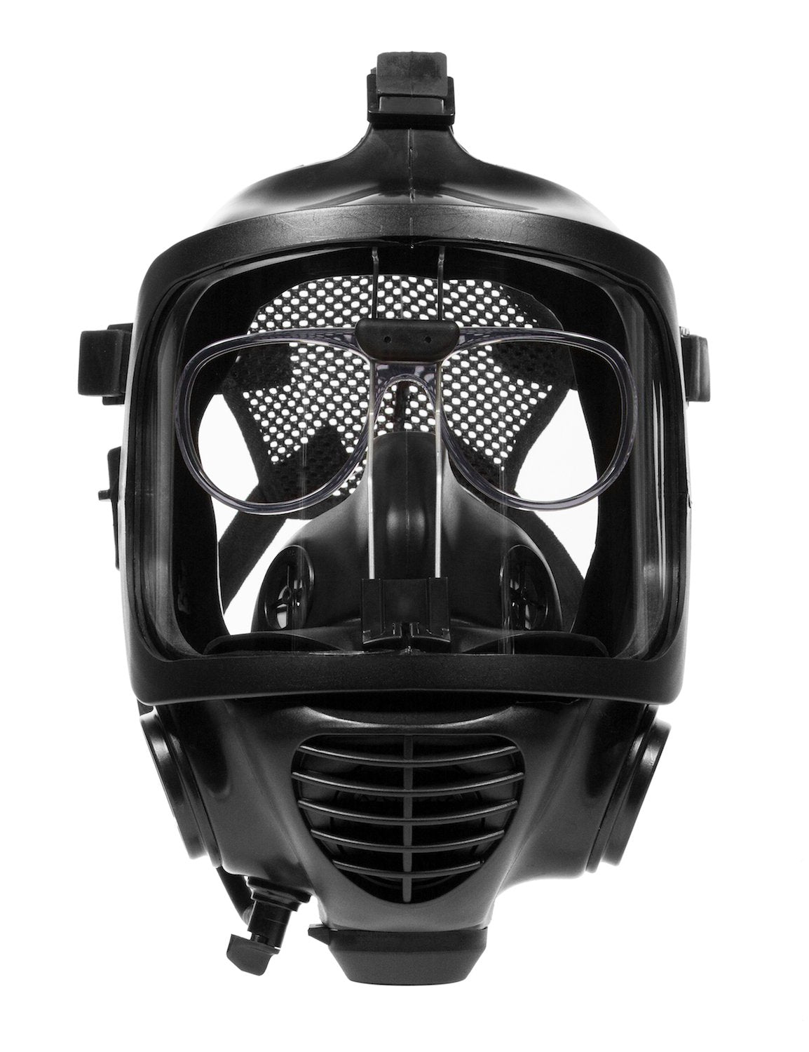 Front view of CM-6M tactical gas mask with the 3M spectacle insert