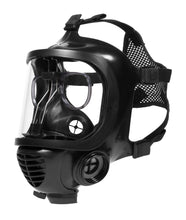 Three quarter view of CM-6M tactical gas mask with the 3M spectacle insert