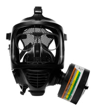 Front view of the CM-6M tactical gas mask with DOTpro 320 40mm gas mask filter