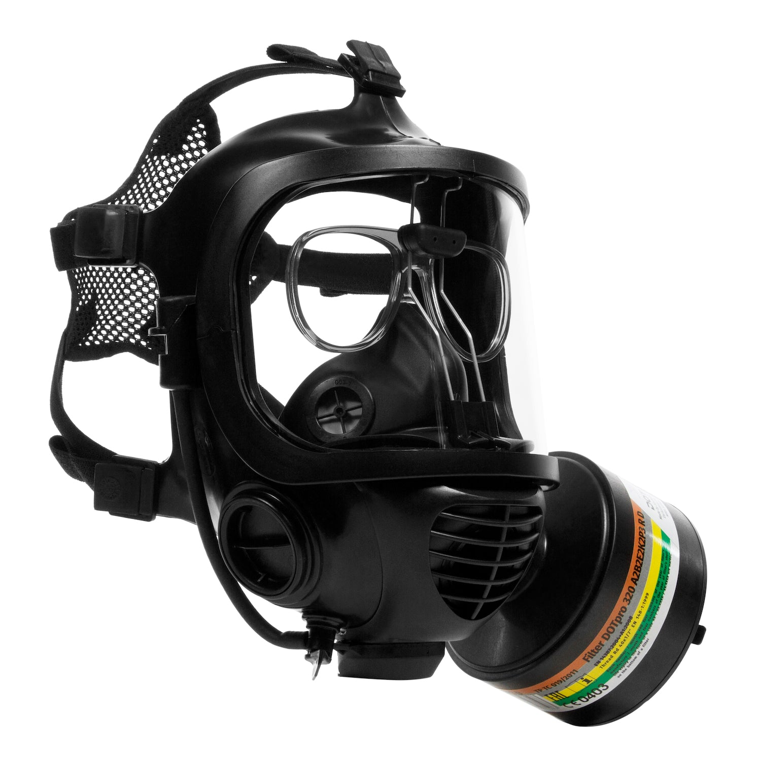 Three quarter view of the CM-6M tactical gas mask with DOTpro 320 40mm gas mask filter