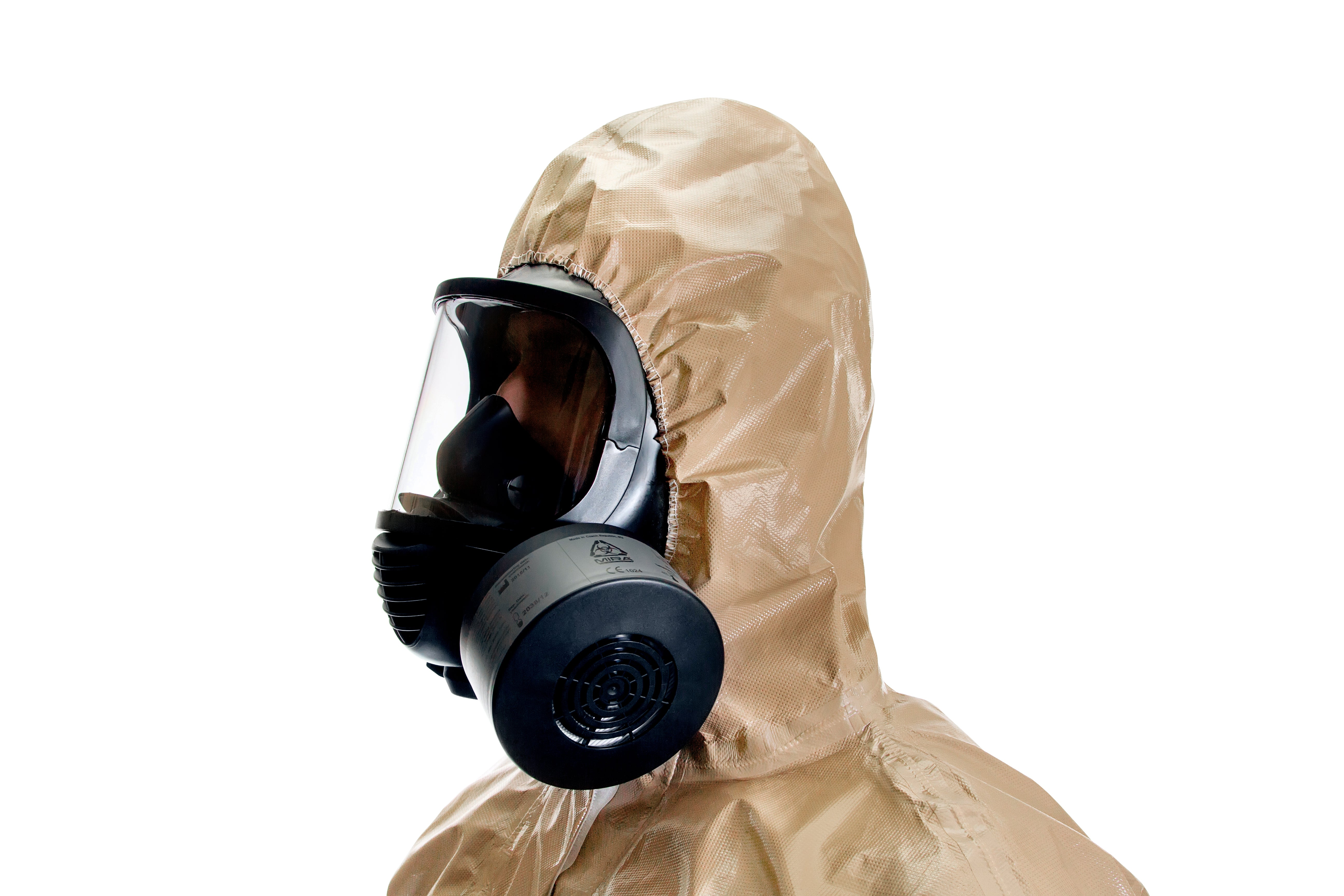Side view of a man with a HAZMAT suit and the NBC-77 SOF CBRN gas mask filter