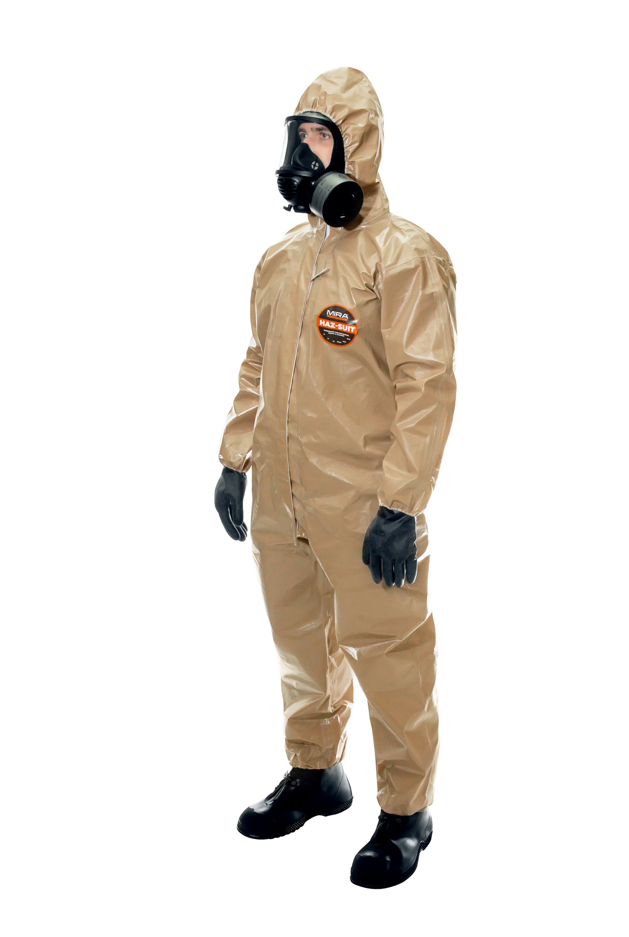 Side view of a man wearing the HAZ-SUIT HAZMAT Suit