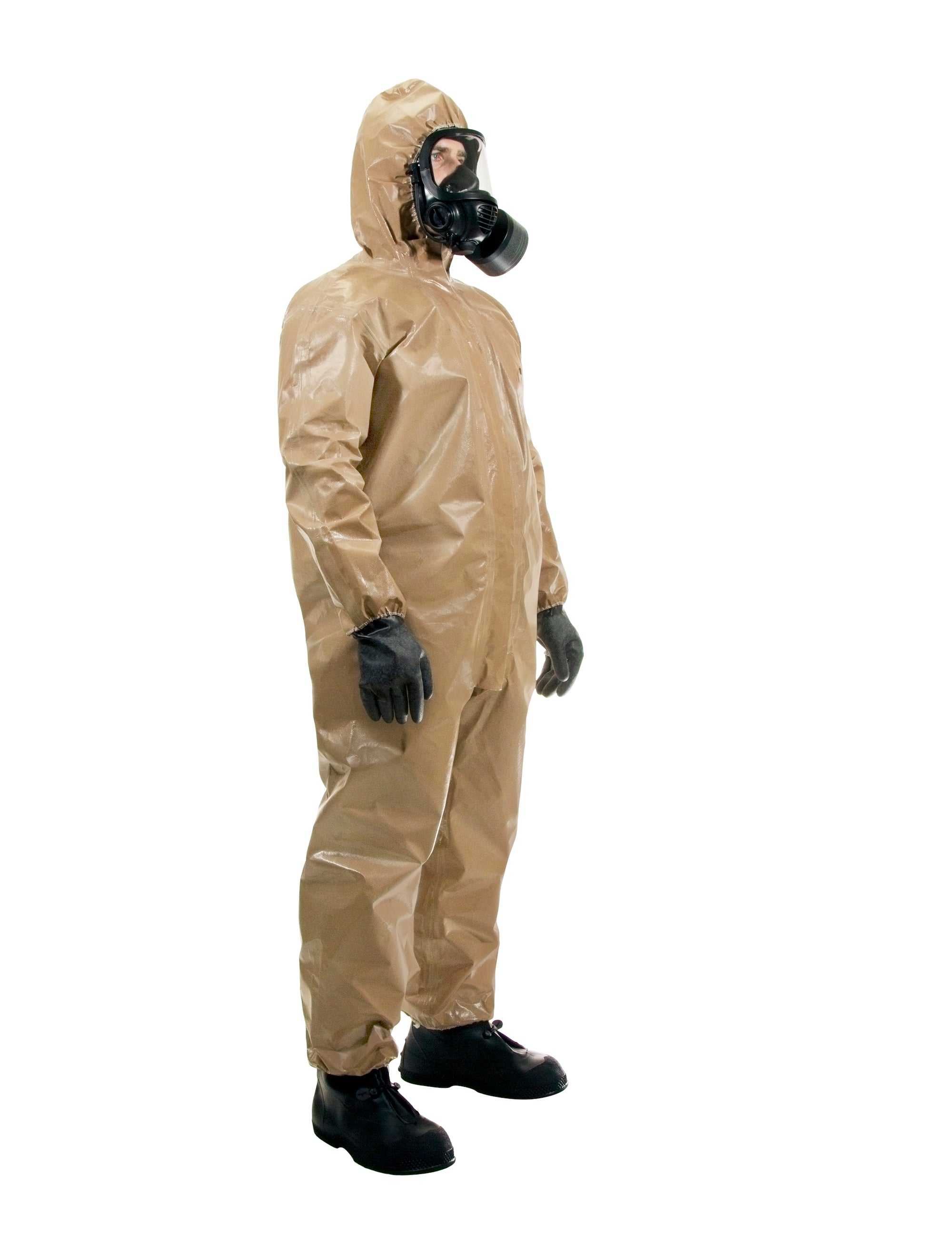 Three quarter view of a man wearing the HAZ-SUIT HAZMAT Suit