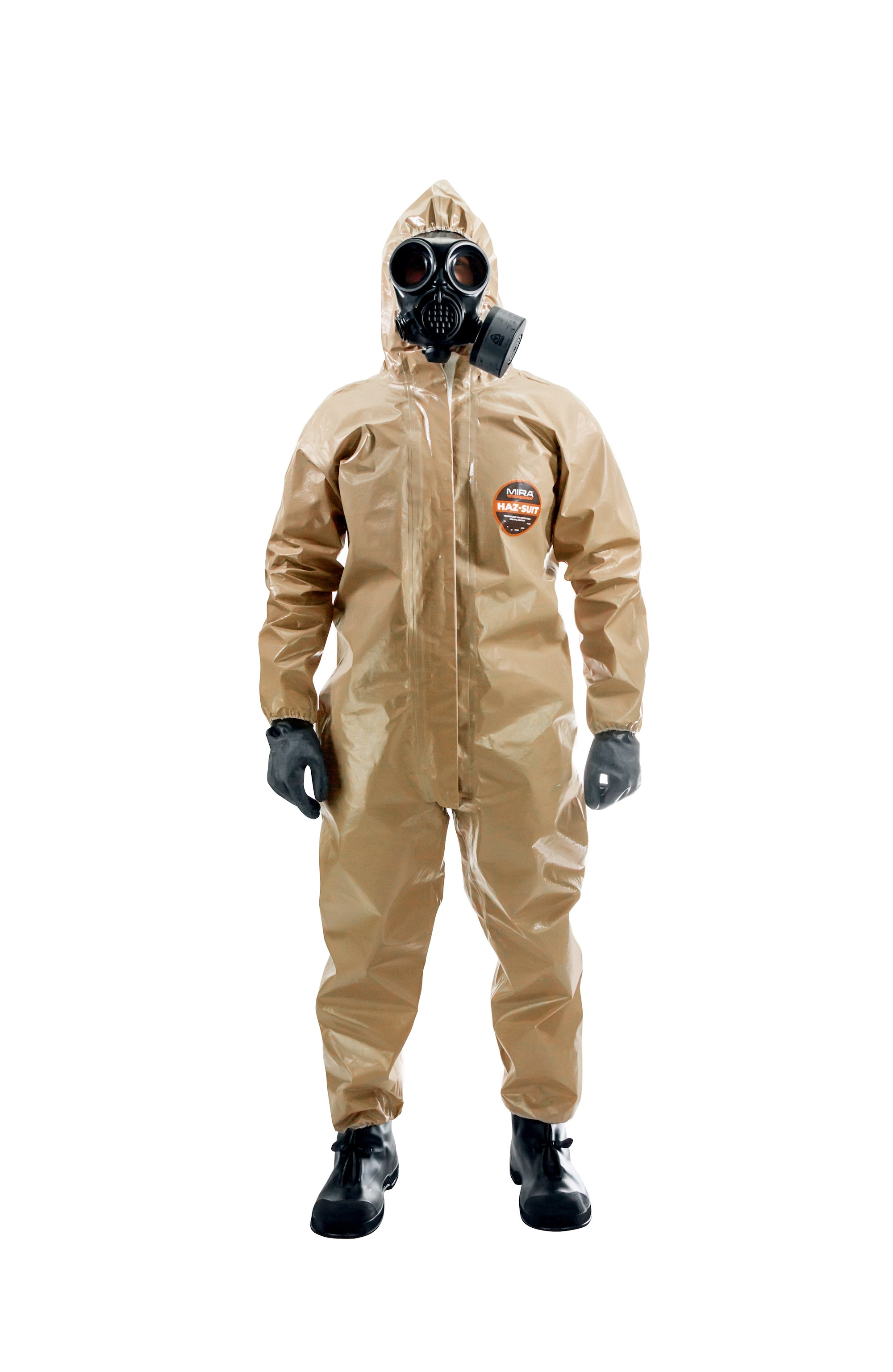 Man wearing a CM-7M gas mask with the HAZ-SUIT HAZMAT Suit