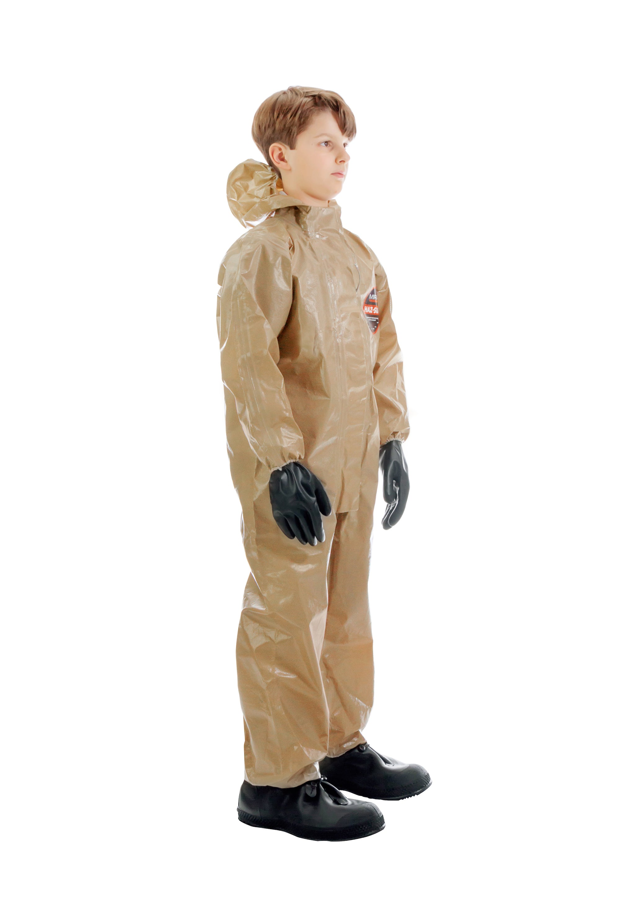 Three quarter view of a child wearing the HAZ-SUIT HAZMAT Suit