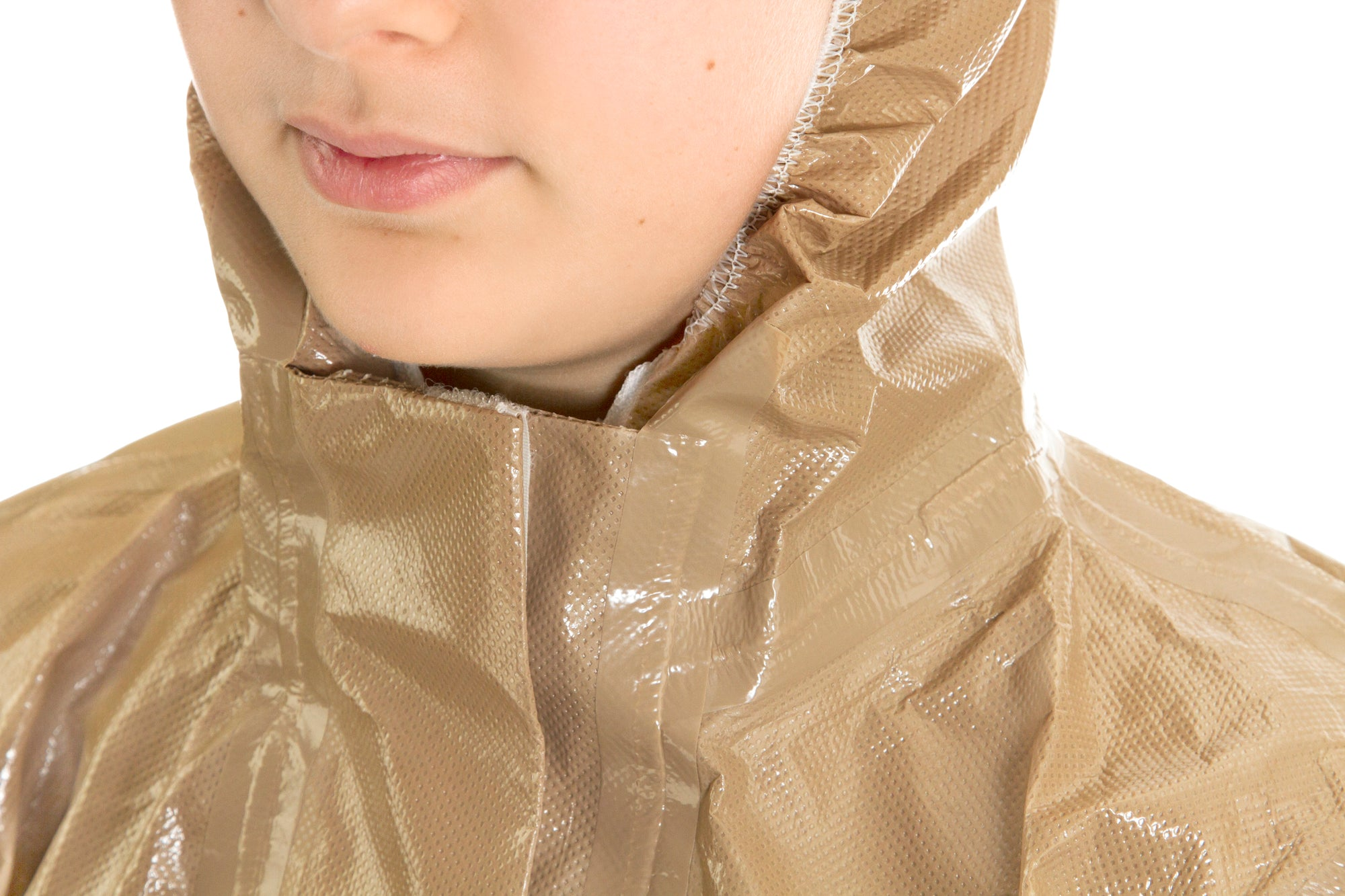 Neck closeup of a child wearing the HAZ-SUIT HAZMAT Suit