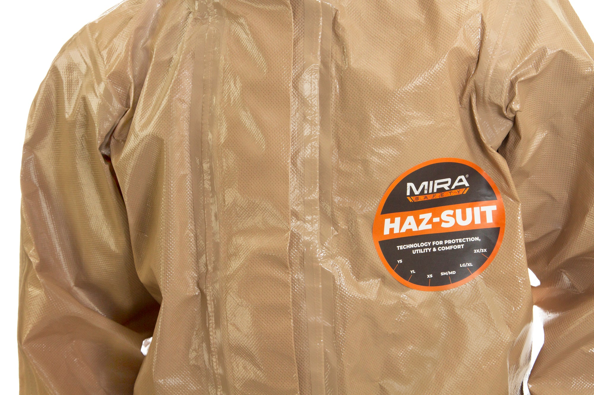 Chest closeup of a child wearing the HAZ-SUIT HAZMAT Suit