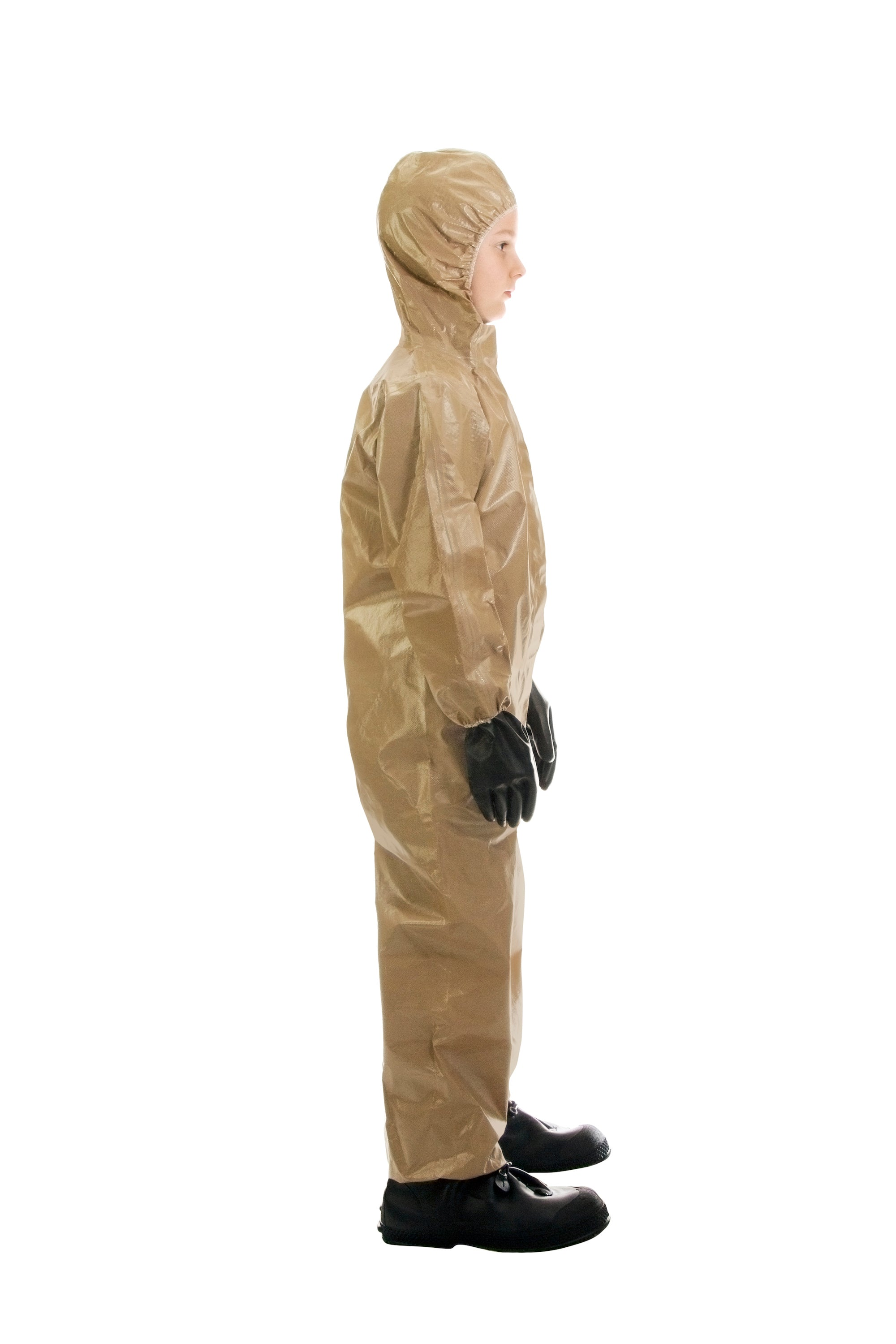 Side view of a child wearing the HAZ-SUIT HAZMAT Suit