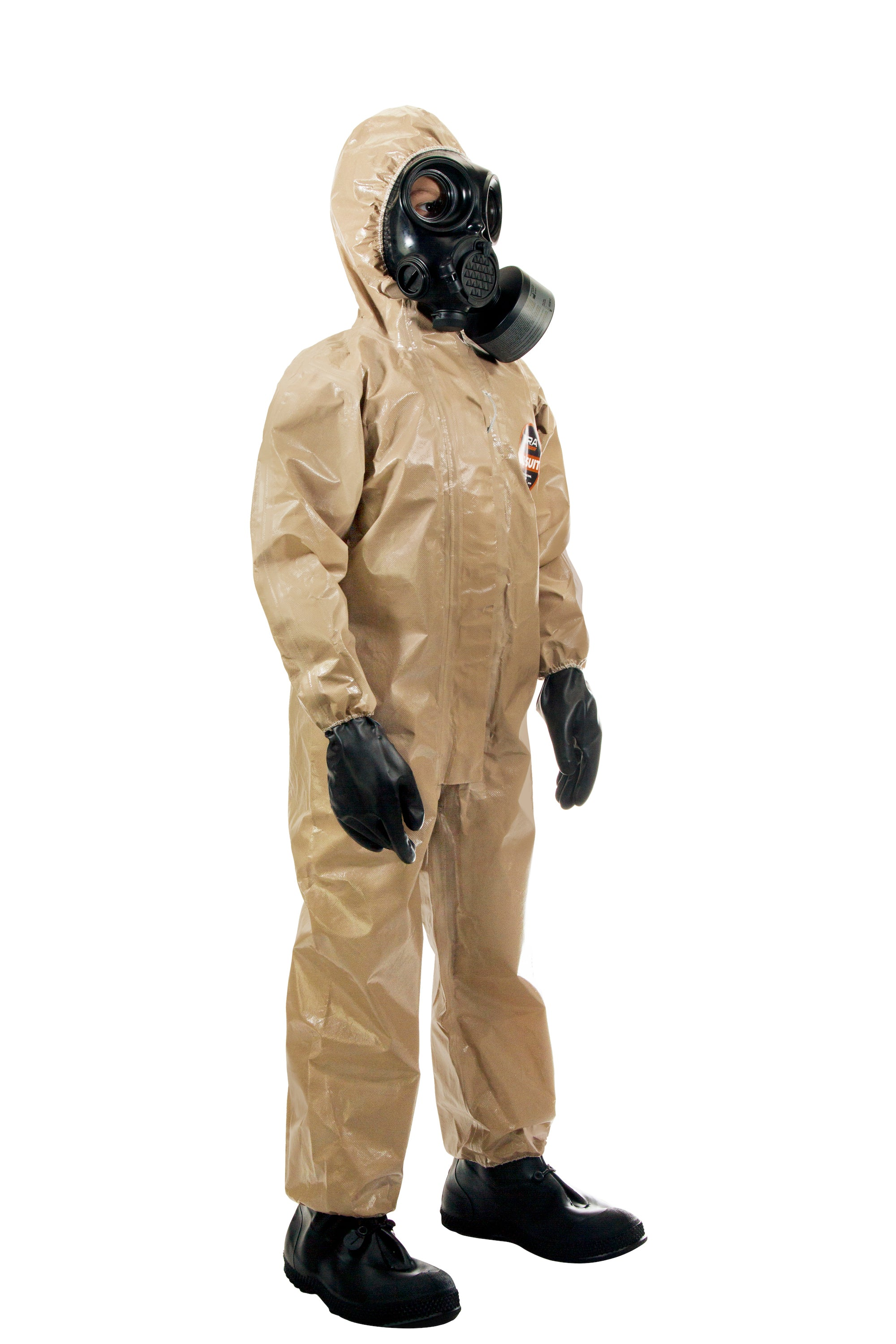 Child wearing the CM-7M gas mask with the HAZ-SUIT HAZMAT Suit
