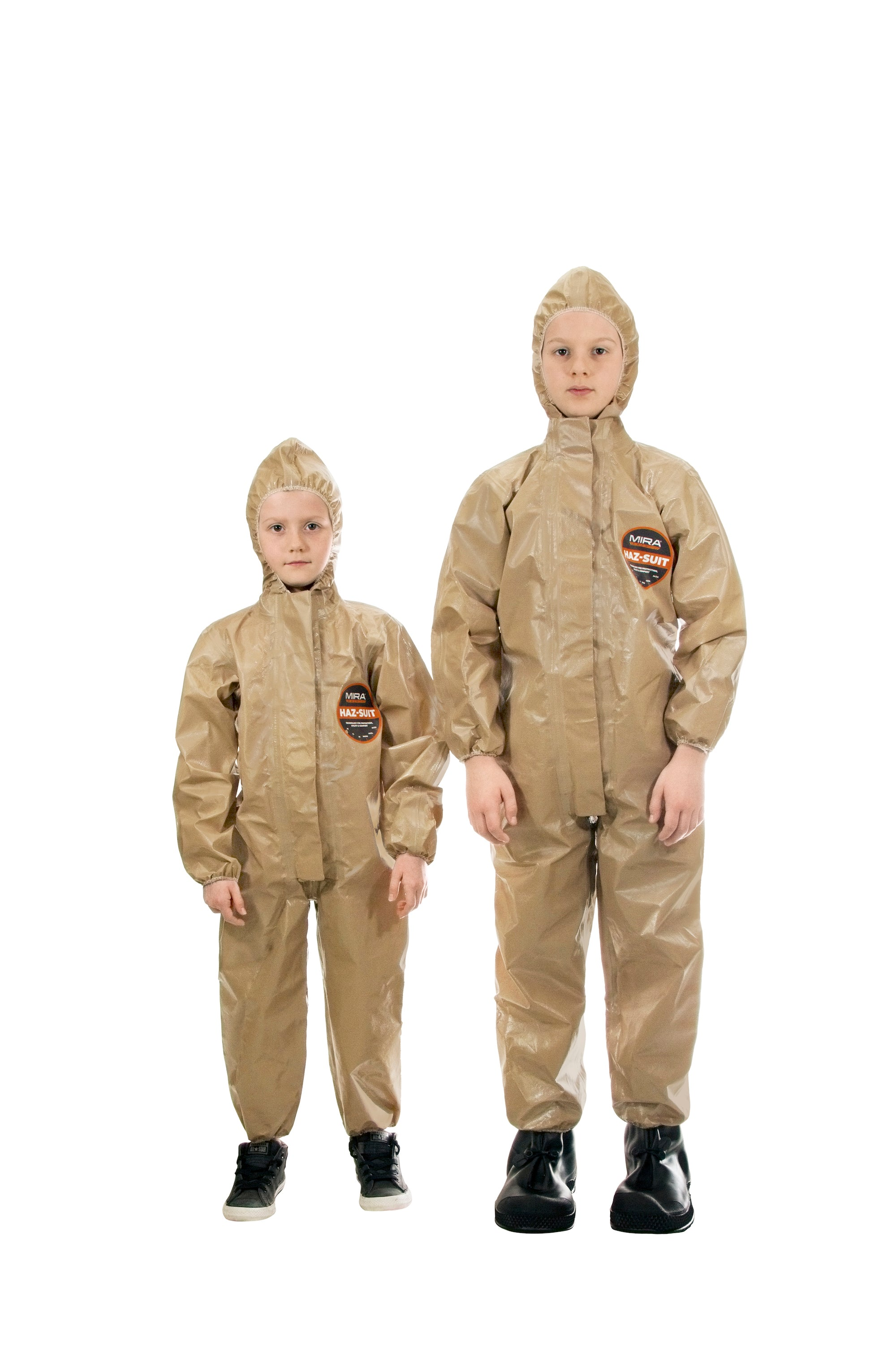 Two children wearing the HAZ-SUIT HAZMAT Suit