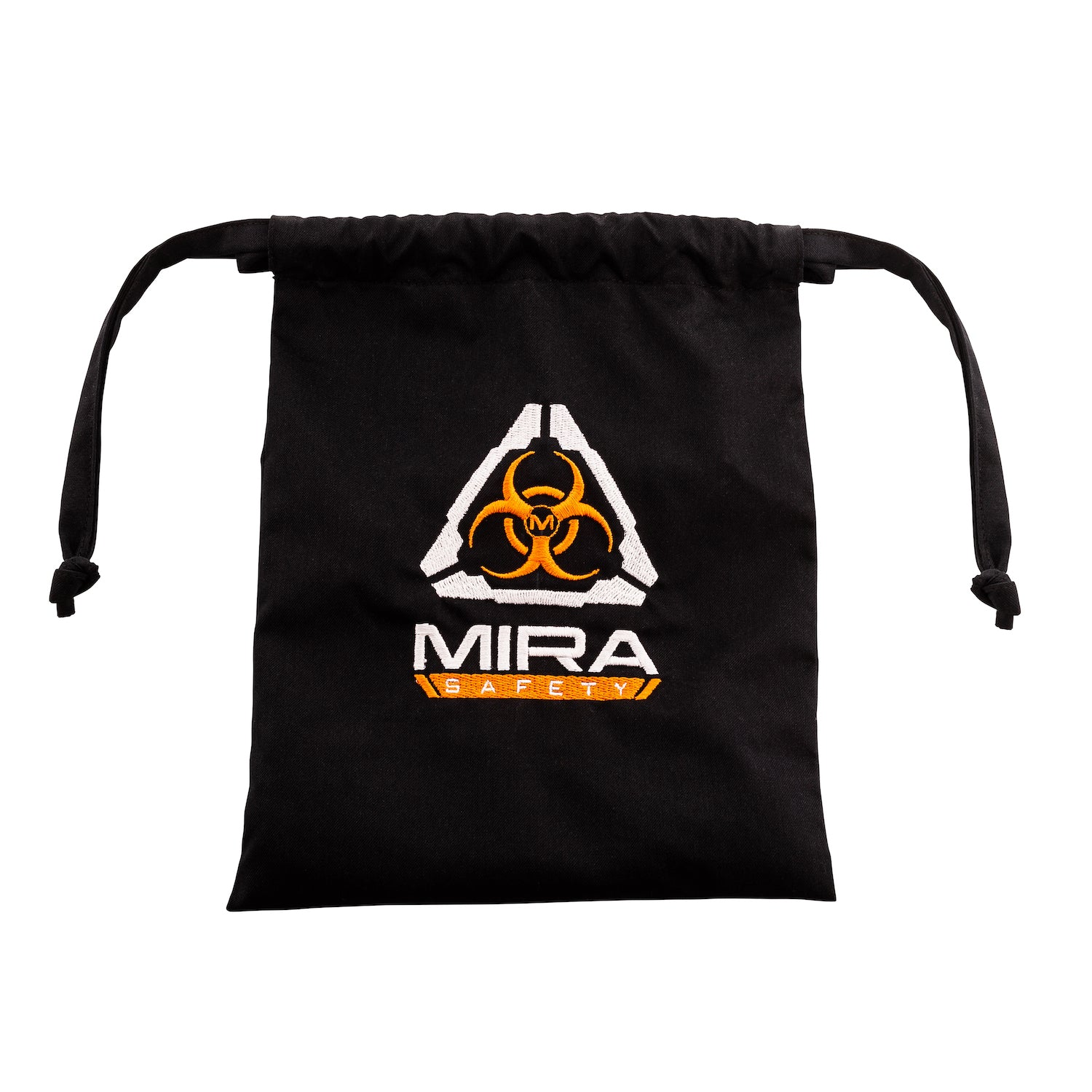 Face mask bag with the biohazard insignia, and MIRA Safety classic logo