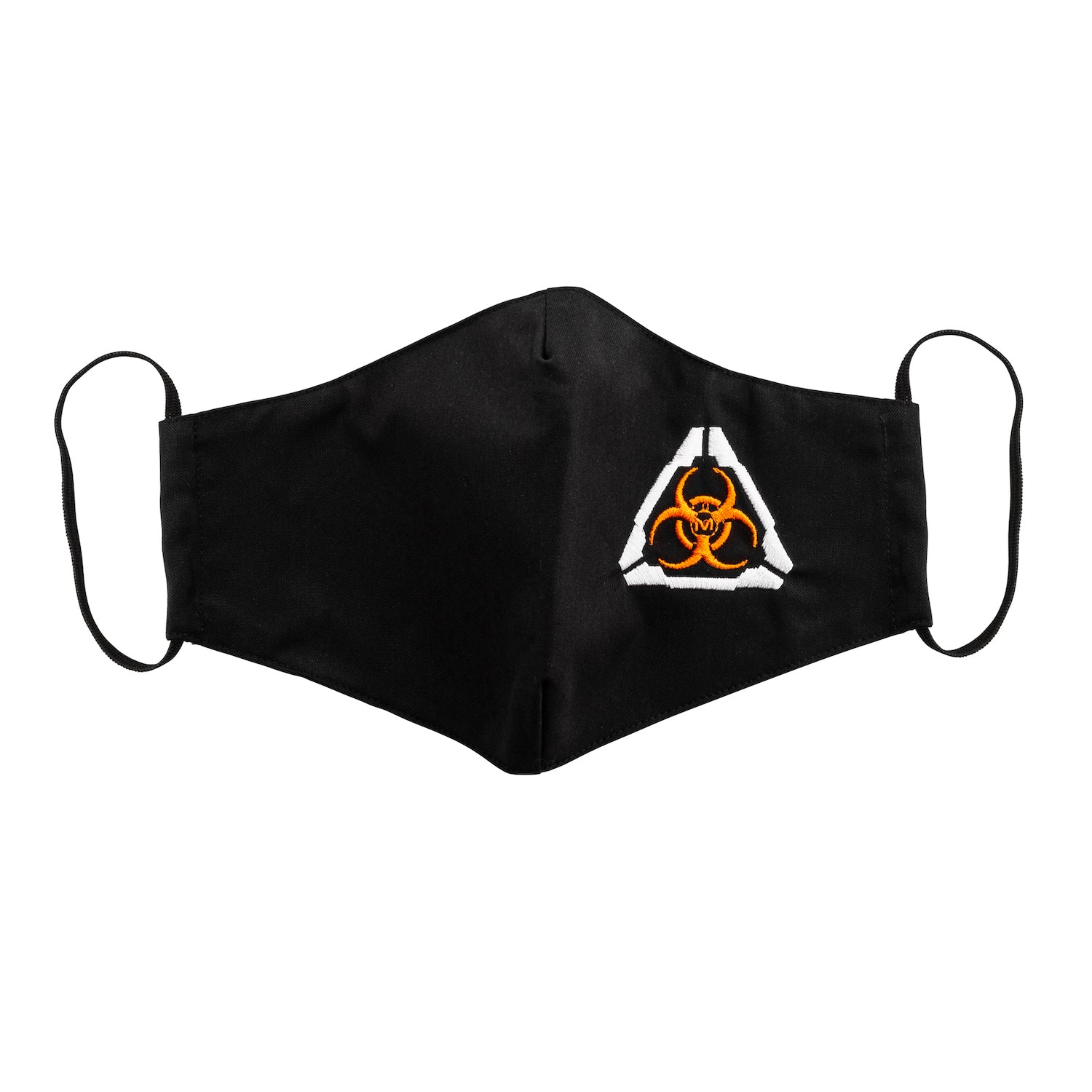 Front view of the MIRA Safety Protective Face Mask with biohazard insignia