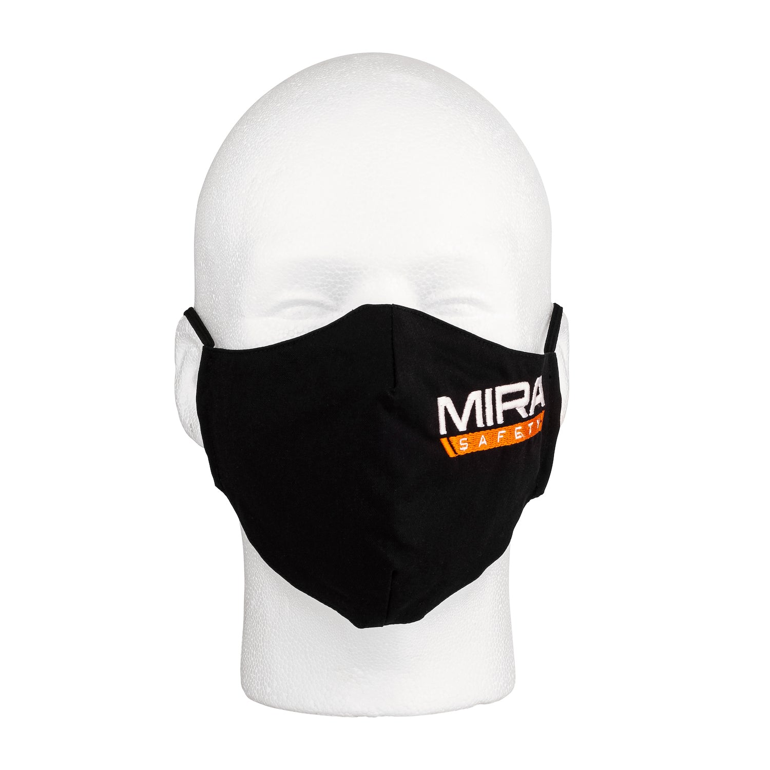 Front view of the MIRA Safety Mask with the classic logo on a mannequin head