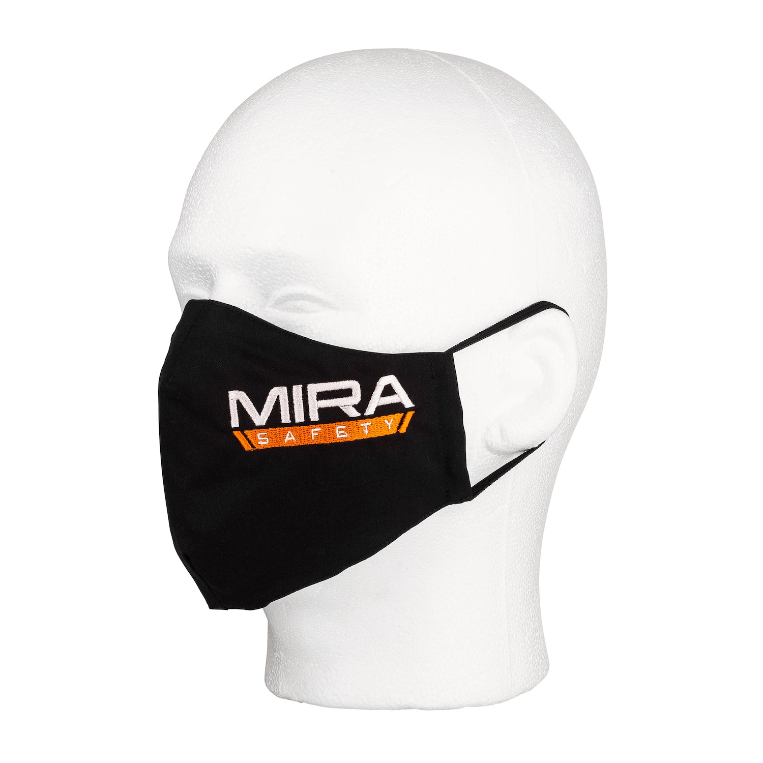 Three quarter view of the MIRA Safety Mask with the classic logo on a mannequin head