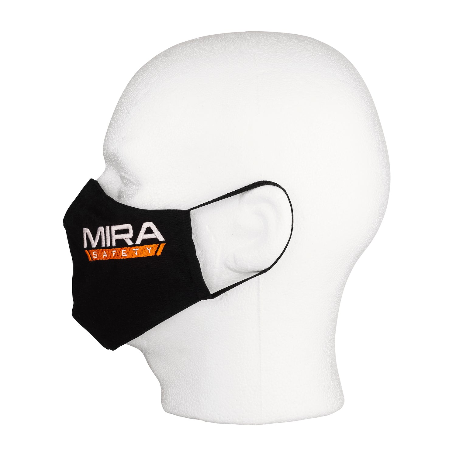 Side view of the MIRA Safety Mask with the classic logo on a mannequin head