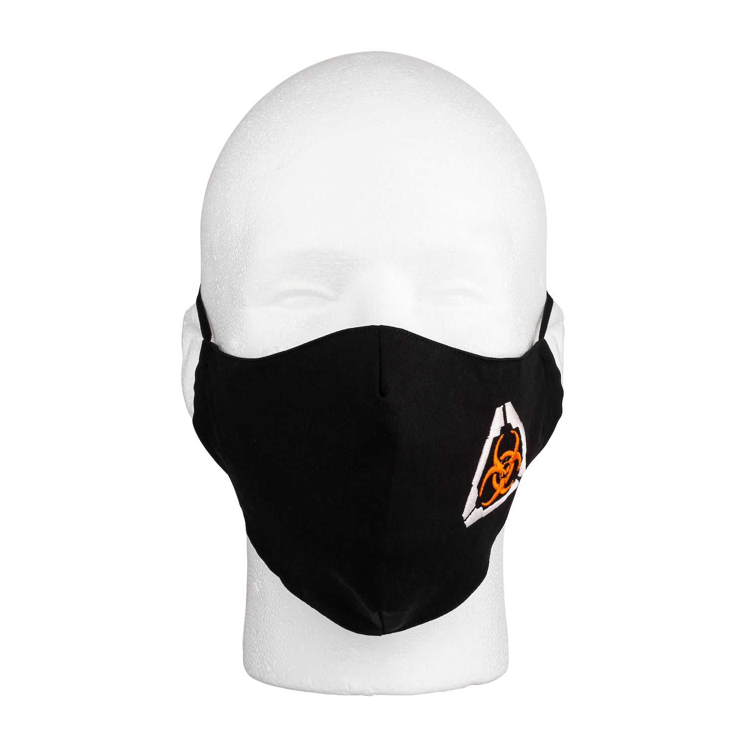 Front view of the MIRA Safety Mask with biohazard insignia on a mannequin head