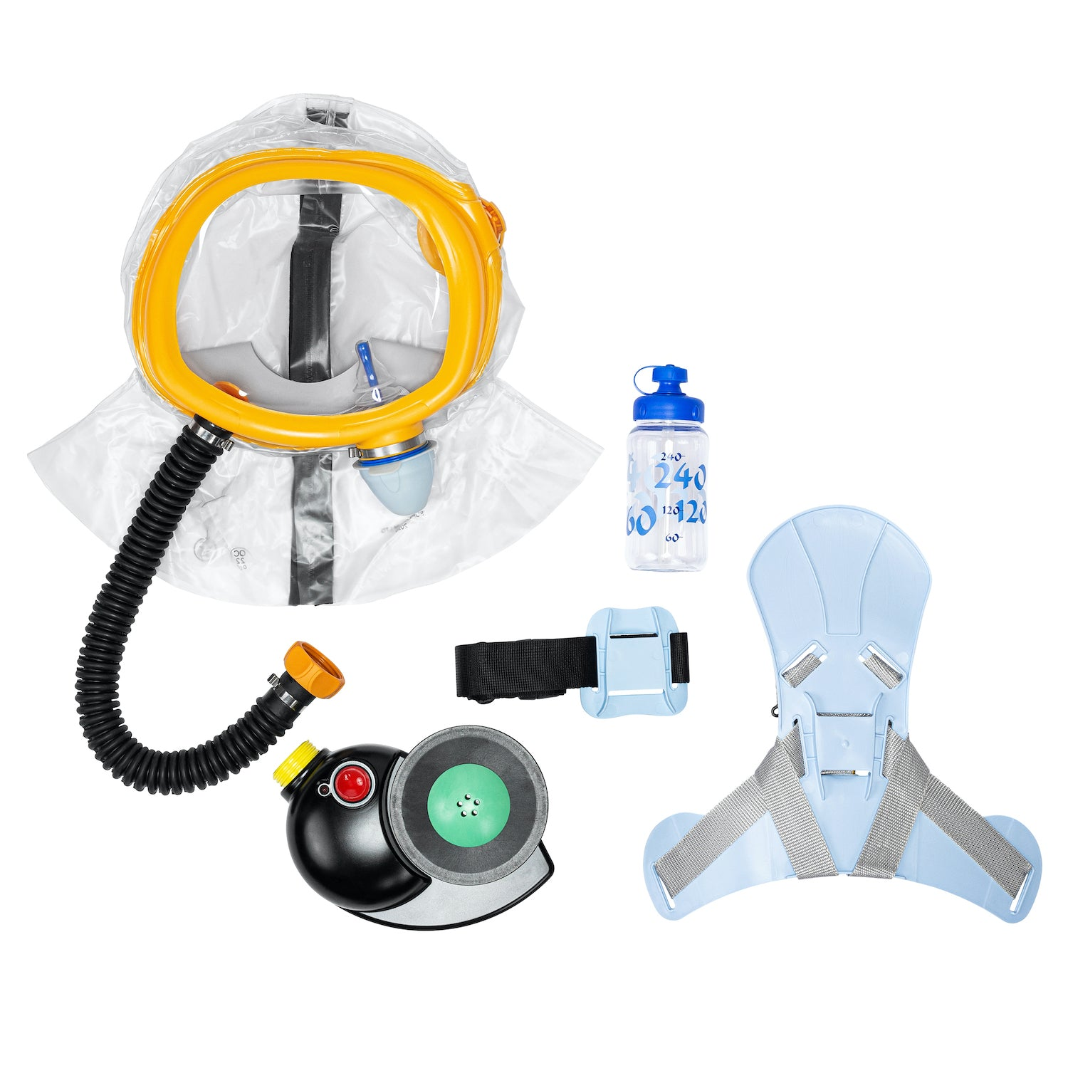 Full CM-3M kids respirator kit, disassembled on a white background