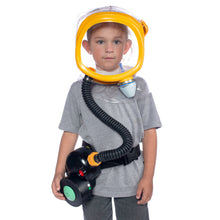 Child wearing the CM-3M Kid's Gas Mask with a PAPR system strapped to his hip