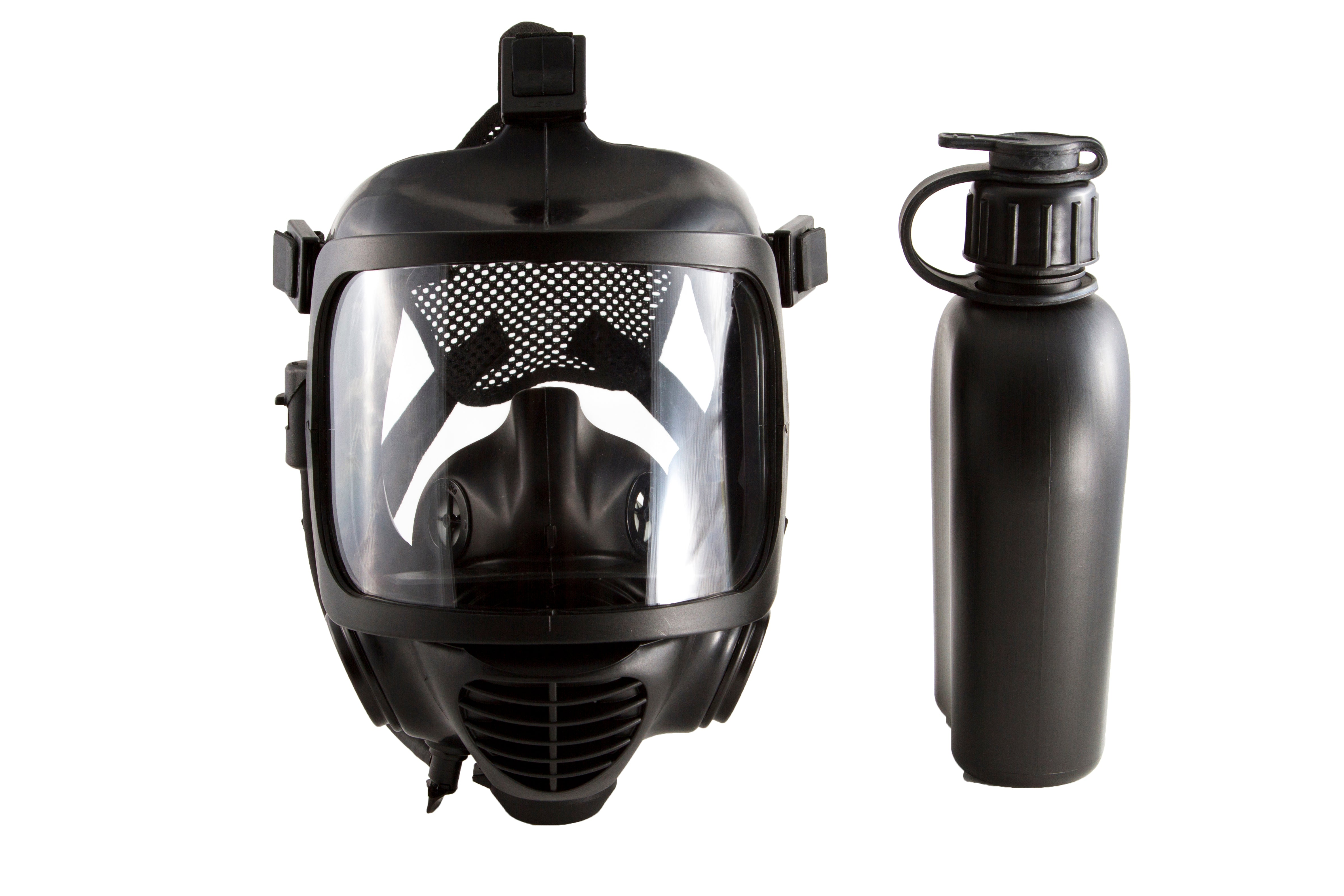 CM-6M tactical gas mask with a canteen