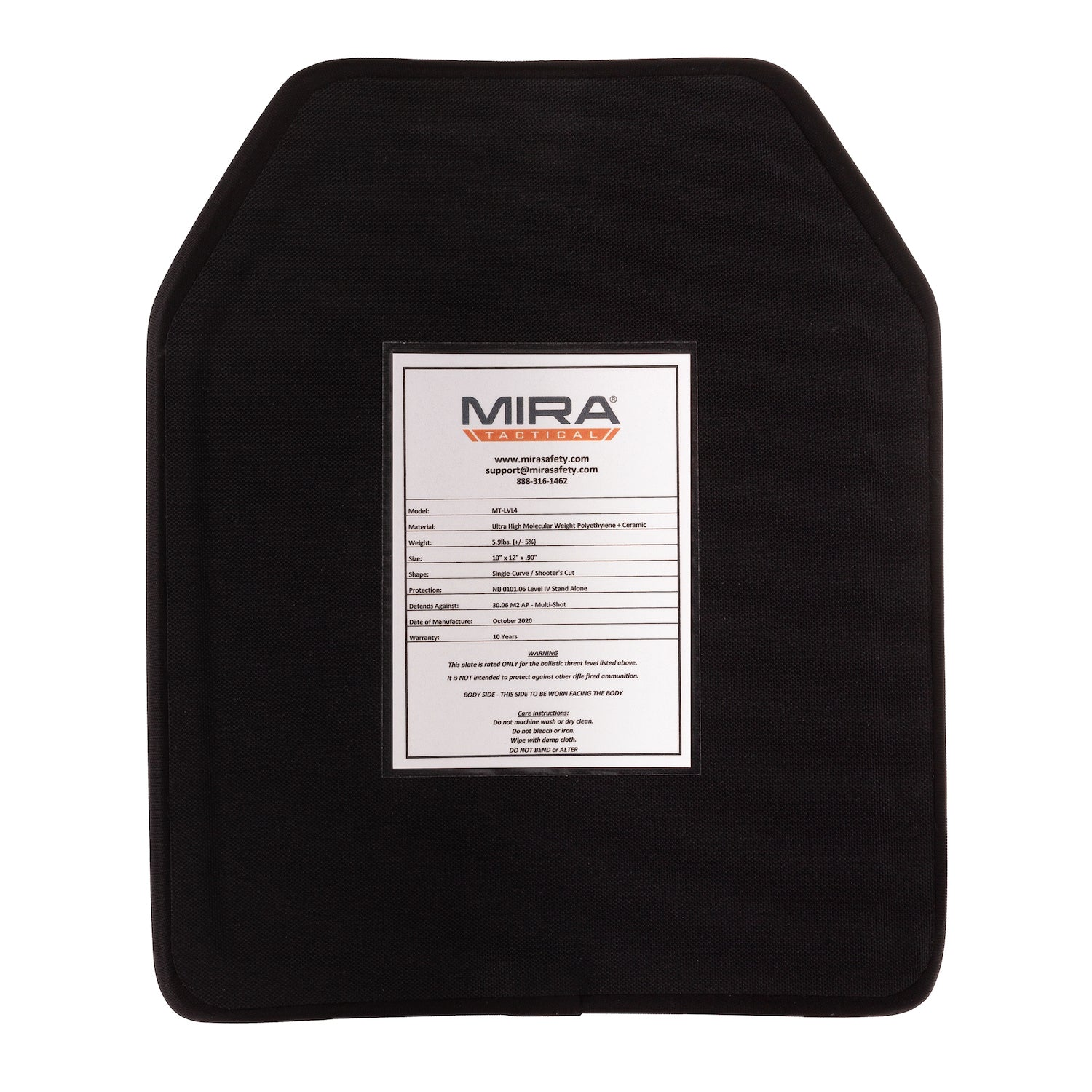 Back of MIRA Tactical level 4 body armor plate