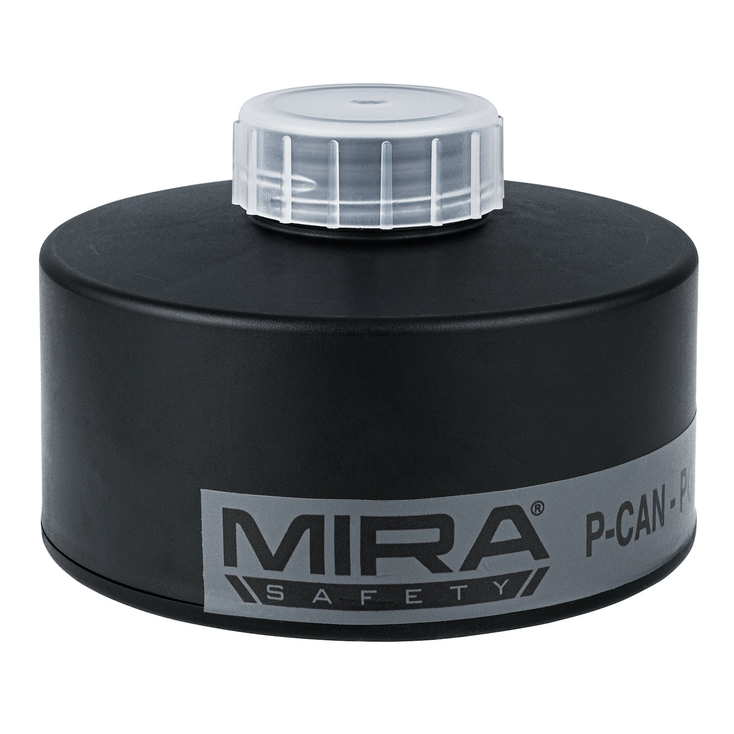 P-CAN Police Gas Mask Filter front view with MIRA Safety logo