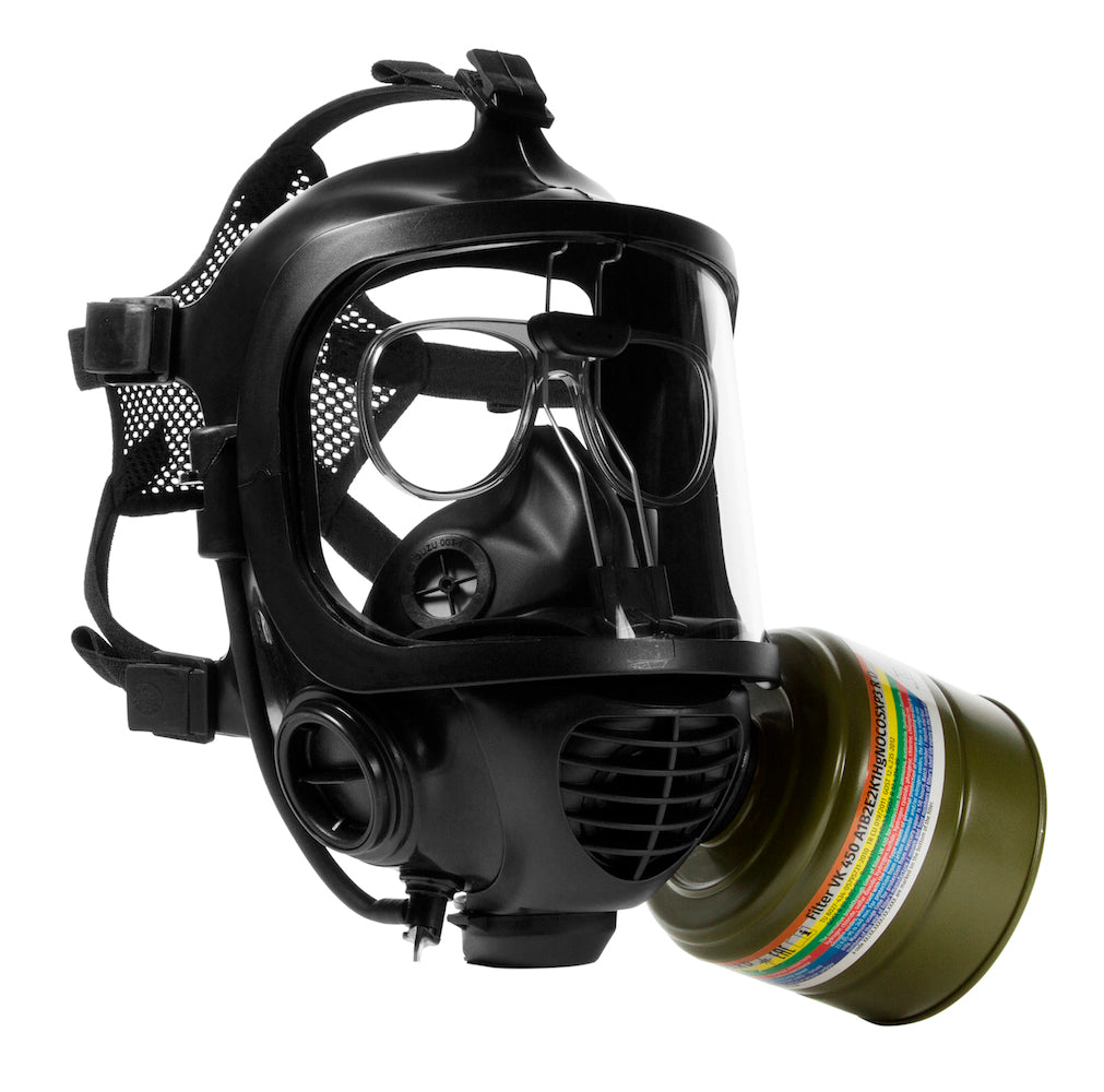 Side view of the VK-450 40mm CO smoke filter on the CM-6M tactical gas mask
