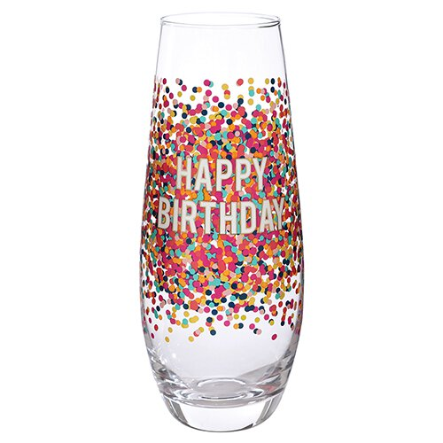 Happy Birthday Champagne Flute with Sprinkles