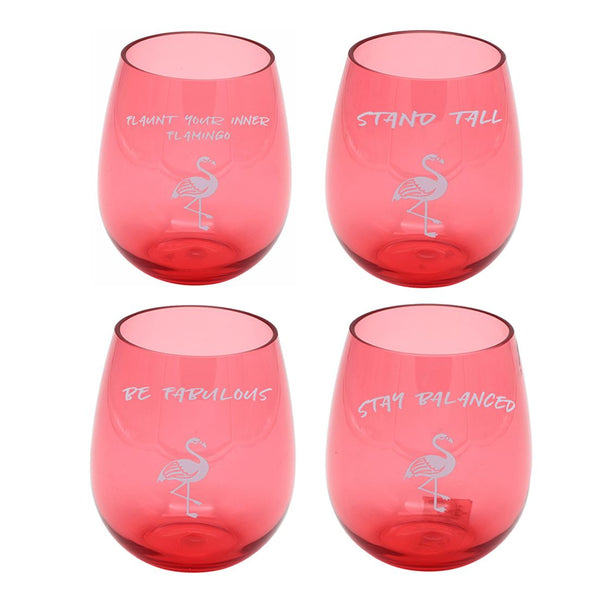 Pink Flamingo Stemless Glass - 4 Sayings