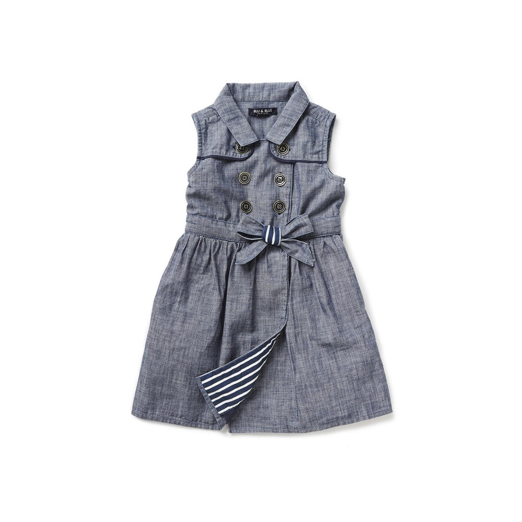 Chambray Belted Trench Dress