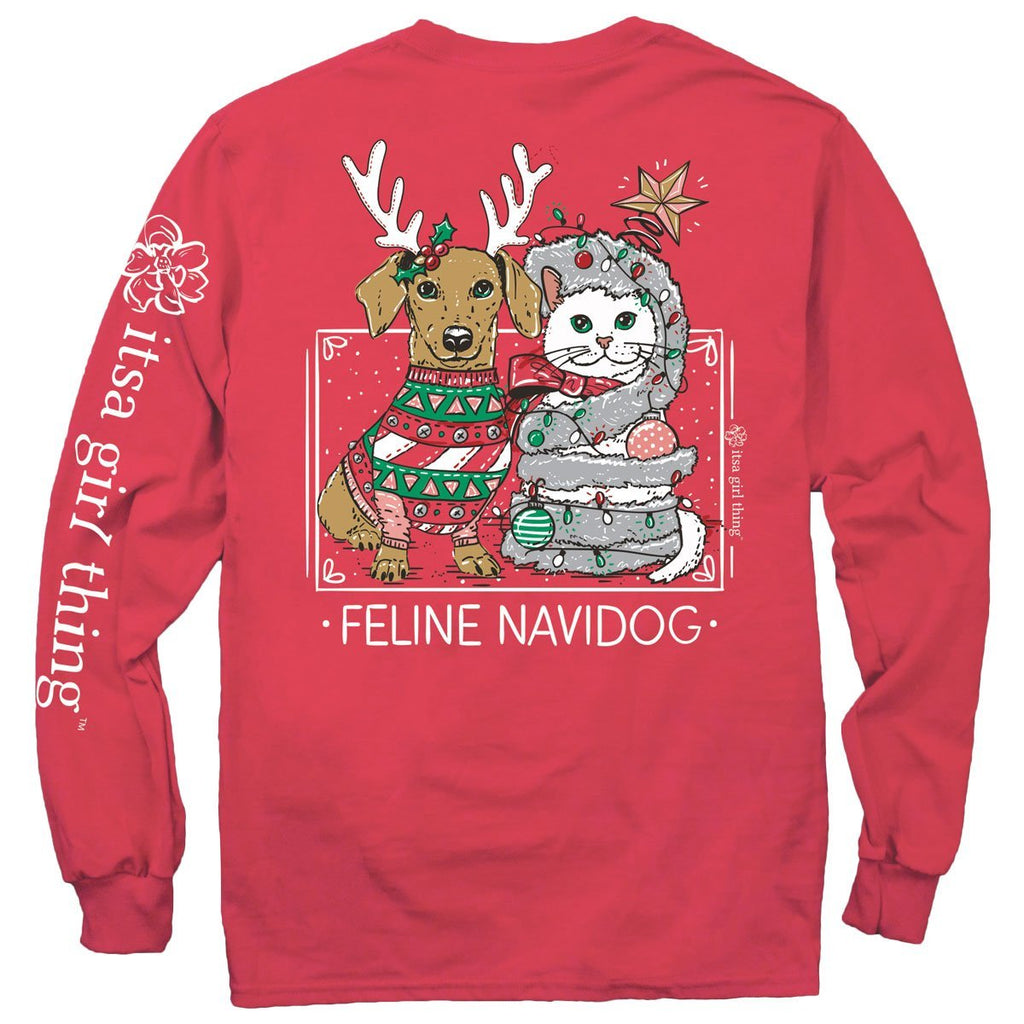 Feline Navidog Long Sleeve T Shirt