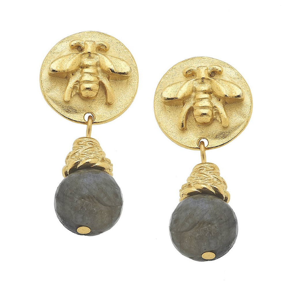 Susan Shaw Gold Bee and Genuine Labradorite Earrings