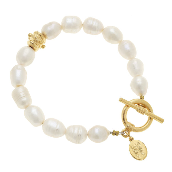 Susan Shaw Freshwater Pearl Tennis Bracelet with Toggle Clasp, Gold Plated 8""