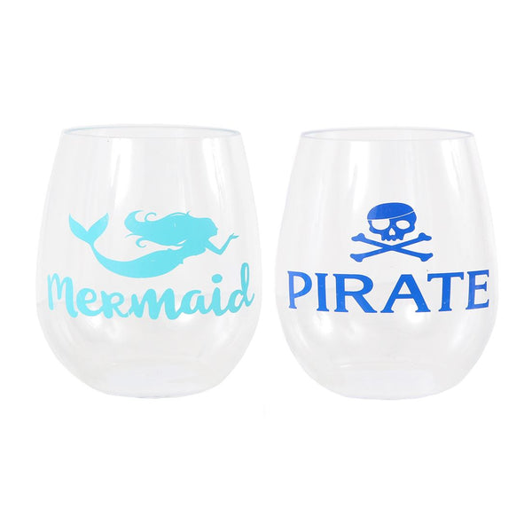 Pirate/Mermaid Stemless Glass Set - Set of 2