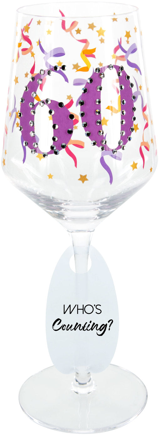 Milestone Birthday Age Bejeweled 17 oz Gemstone Glass - 4 Styles