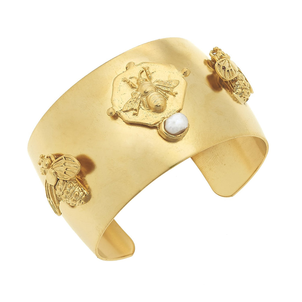 Susan Shaw Gold Bee and Pearl Cuff Bracelet