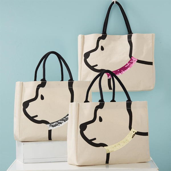 Best Friend Dog with Sequin Collar Tote bag- 3 colors