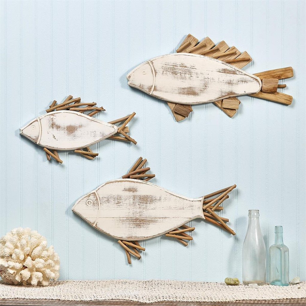 White Fish Set of 3 Fish Wall Decor with Driftwood Fins