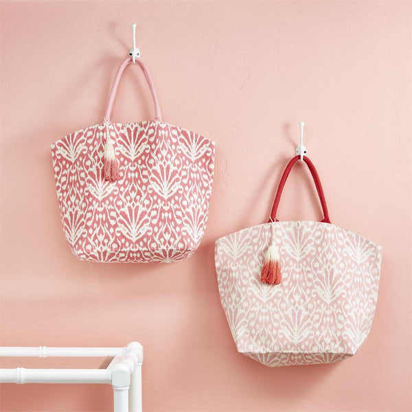 Pink Jute Tote Bag with Tassel- 2 colors