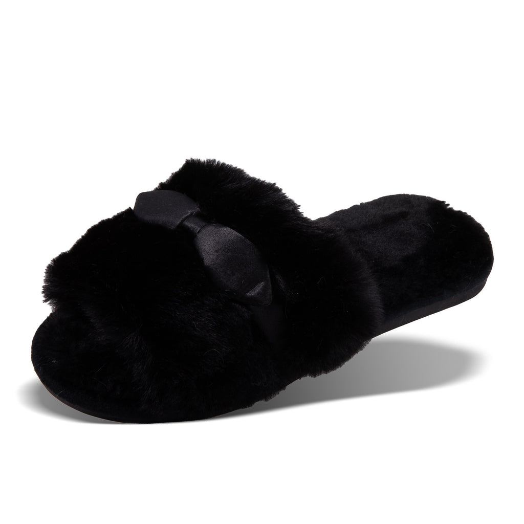 Black Satin Bow Slippers