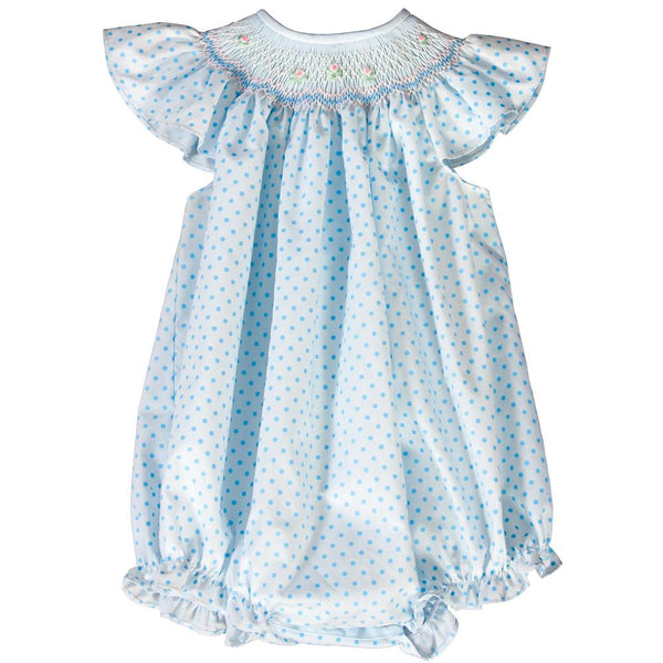 Lt. Blue English Smocked Girl Dotted Bubble