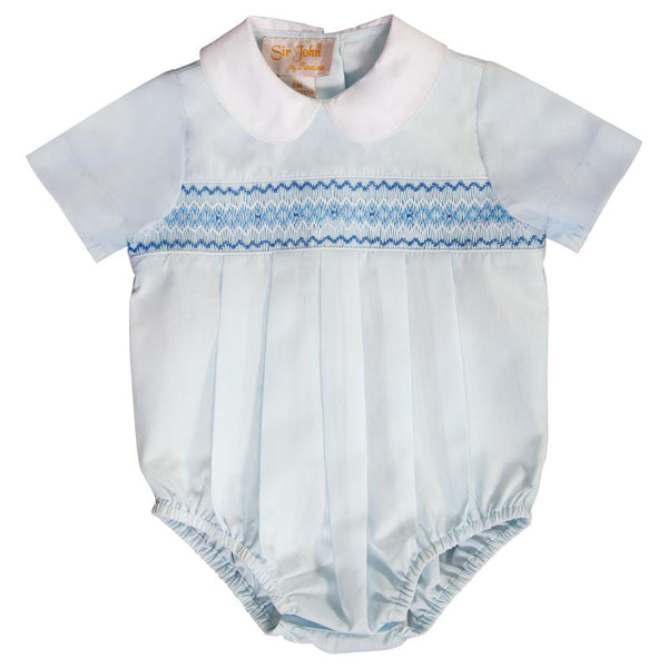 Lt. Blue English Smocked Boy Bubble