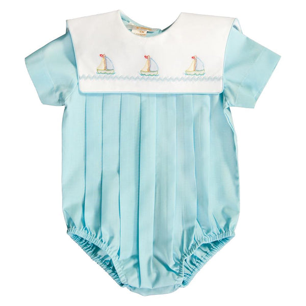 Sailboats Lt. Aqua Blue Embroidered Boy Bubble