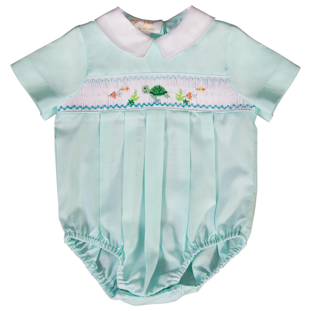Turtle & Friends Mint  Smocked Boy Bubble