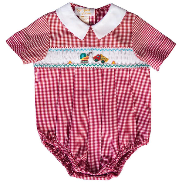 Crane & Truck Red Gingham Smocked Boy Bubble