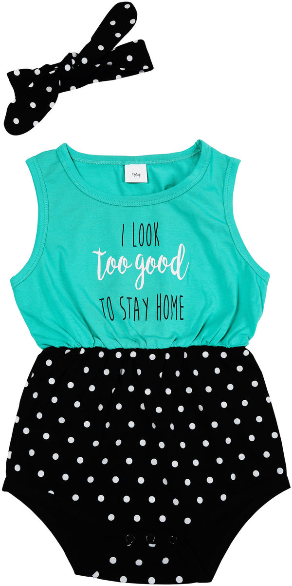 Teal & Black Romper with Headband - 2 Sizes