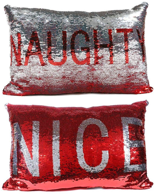 Naughty or Nice Sequin Pillow