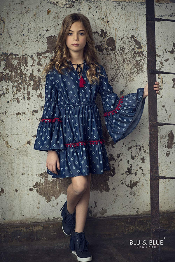 Chambray Design Dress with Red Poms